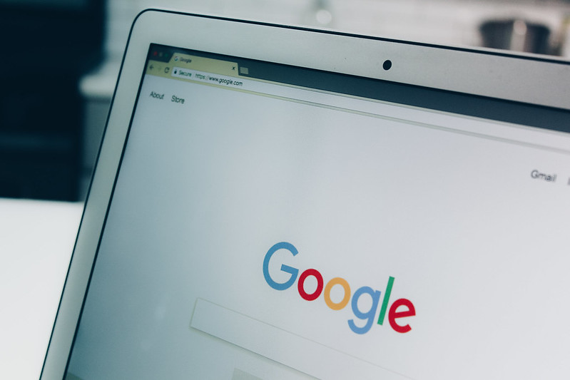 Google search engine website page on a laptop screen.